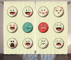 Sevimli Emojiler Fon Perde Krem Dekoratif Şık