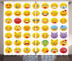Sarı Emoji Desenli Fon Perde Dekoratif Şık