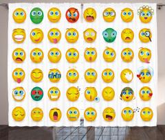 Sarı Emojiler Desenli Fon Perde Şık Tasarım