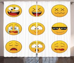 Sarı Şık Emojiler Fon Perde Dekoratif Tasarım