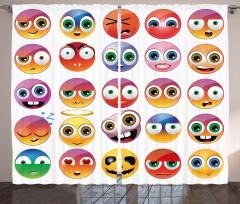 Rengarenk Emojiler Fon Perde Dekoratif Şık