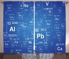 Elementler Desenli Fon Perde Mavi Şık Tasarım
