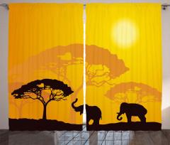 Afrika Desenli Fon Perde Filler Ağaçlar ve Güneş