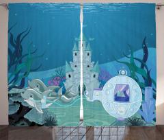 Su Altı Sarayı Desenli Fon Perde Deniz Yunuslar