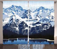 Karlı Dağ Gölü Desenli Fon Perde Mavi Beyaz Kış