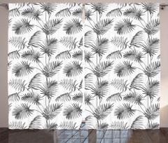 Palmiye Ağacı Desenli Fon Perde Gri Dekoratif