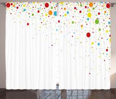 Renkli Puantiye Desenli Fon Perde Trend