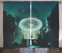 Yıldırım Küresi Temalı Fon Perde Yeşil Şık Tasarım