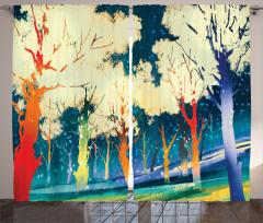 Sarı Ağaçlar ve Orman Fon Perde Mavi Şık