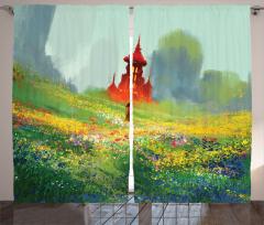 Kırdaki Kız Temalı Fon Perde Yeşil Kale Çiçek