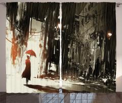 Şemsiyeli Kadın Temalı Fon Perde Gri Şık Tasarım