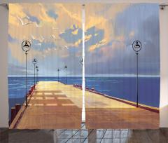 Köprü ve Gökyüzü Temalı Fon Perde Sarı Mavi Deniz