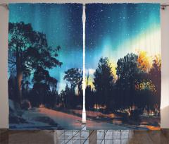 Gece Yıldızlar Ve Orman Fon Perde Mavi