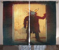 Tavşan Maskeli Adam Fon Perde Sarı Kapı