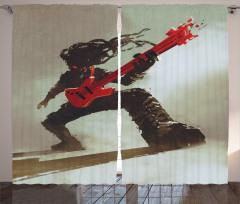 Kırmızı Gitar Müzisyen Fon Perde Müzik