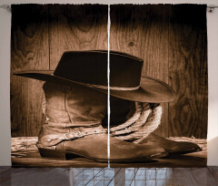 Kovboy Temalı Fon Perde Şapka Çizme Kahverengi