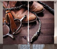 Kovboy Temalı Fon Perde Çizme Çiftlik Kahverengi