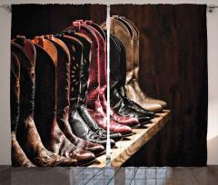 Kovboy Çizmeleri Temalı Fon Perde Kahverengi Ahşap