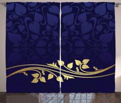 Lacivert Krem Çiçek Fon Perde Şık Tasarım