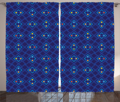 Şık Lacivert ve Mavi Fon Perde Geometrik