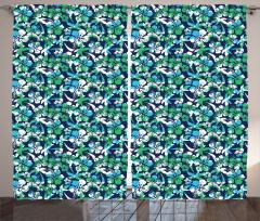 Yeşil Çiçekli Lacivert Fon Perde Çeyizlik