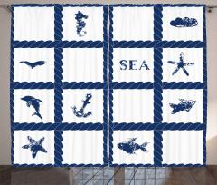 Denizcilik ve Halat Fon Perde Lacivert