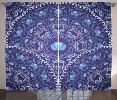 Mavi Çiçekli Lacivert Fon Perde Çeyizlik