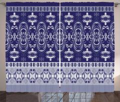 Lacivert Beyaz Desenli Fon Perde Duvar Kağıdı