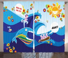 Balina ve Dalgalı Deniz Fon Perde Komik