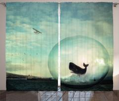 Küredeki Balina ve Uçak Fon Perde Şık Mavi