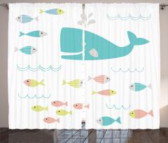 Mavi Balina ve Balık Fon Perde Beyaz Fonlu