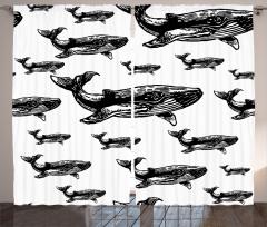Kambur Balina Desenli Fon Perde Siyah ve Beyaz