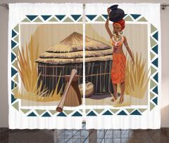 Etnik Temalı Fon Perde Afrikalı Kadın Egzotik Bej