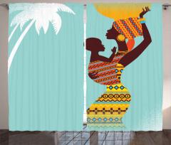 Afrikalı Anne ve Bebek Fon Perde Mavi Sarı