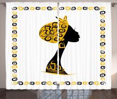 Afrikalı Kadın Temalı Fon Perde Sarı Siyah Şık