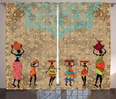 Afrikalı Kızlar Temalı Fon Perde Bej Mavi Şık