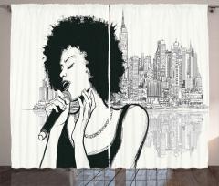 Müzik Temalı Fon Perde Şarkıcı Kadın Portreli