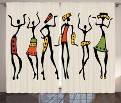 Afrikalı Dansçı Kızlar Fon Perde Bej Şık