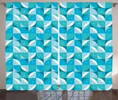 Geometrik Desenli Fon Perde Mavi Beyaz Şık Tasarım