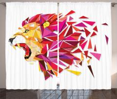 Aslan Portreli Fon Perde Geometrik Kırmızı Şık