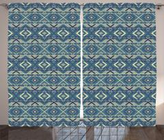 Geometrik Desenli Fon Perde Mavi Sarı Şık Tasarım