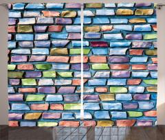 Mozaik Etkili Fon Perde Mavi Şık Tasarım Kiremit