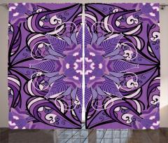 Mor Çiçek Desenli Fon Perde Mandala Temalı Şık