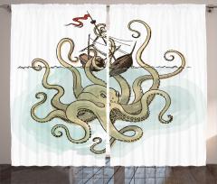 Mitoloji Temalı Fon Perde Gemi Kraken Bej Trend