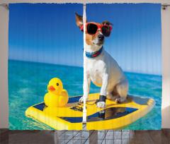 Sörfçü Köpek Temalı Fon Perde Mavi Deniz Gökyüzü