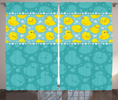 Sarı Lastik Ördek Fon Perde Mavi Trend