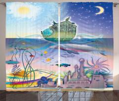 Su Altı Şehri Desenli Fon Perde Gemi Deniz