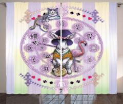Alice Harikalar Diyarında Saati Fon Perde Tavşan
