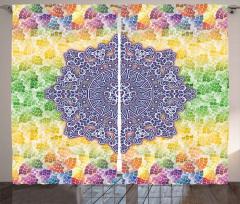 Mor Mandala Çiçeği Fon Perde Rengarenk Desenli