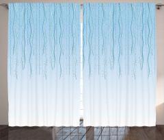 Mavi Dalgalı Çizgili Desen Fon Perde Geometrik